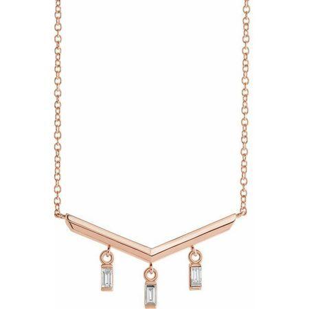 Genuine Diamond Necklace in 14 Karat Rose Gold 1/8 Carat Diamond V Bar 16
