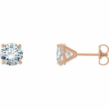 White Diamond Earrings in 14 Karat Rose Gold 1 Carat Diamond 4-Prong CocKaratail-Style Earrings