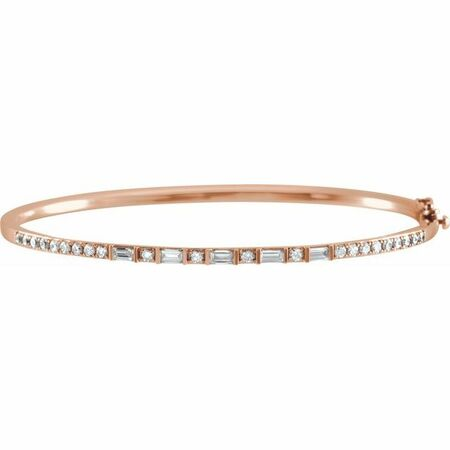 White Diamond Bracelet in 14 Karat Rose Gold 1 Carat Diamond 7