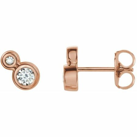 White Diamond Earrings in 14 Karat Rose Gold 1 Carat Diamond Earrings