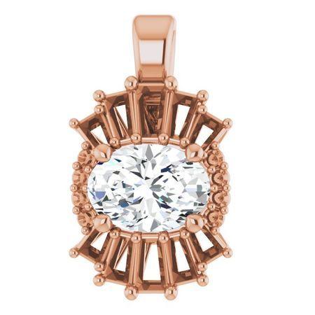 Diamond Pendant in 14 Karat Rose Gold 1 Carat Diamond Pendant
