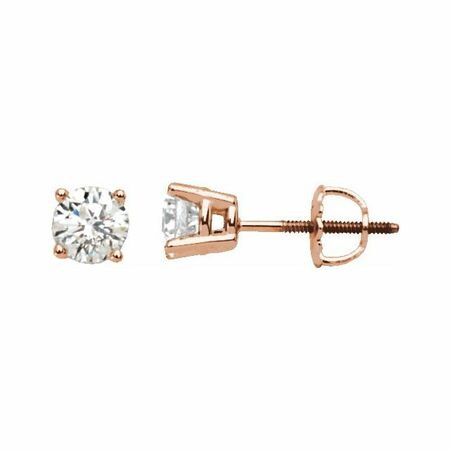 White Diamond Earrings in 14 Karat Rose Gold 1 Carat Diamond Stud Earrings