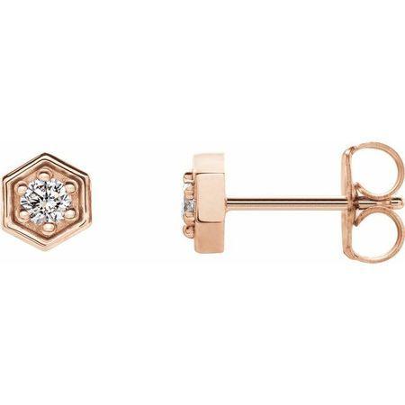 Created Moissanite Earrings in 14 Karat Rose Gold 2.5 mm Round Forever One Moissanite Earrings