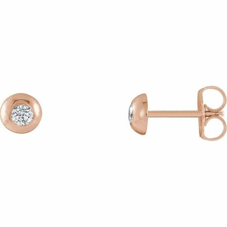 Created Moissanite Earrings in 14 Karat Rose Gold 2.5 mm Round Forever One Moissanite Earrings