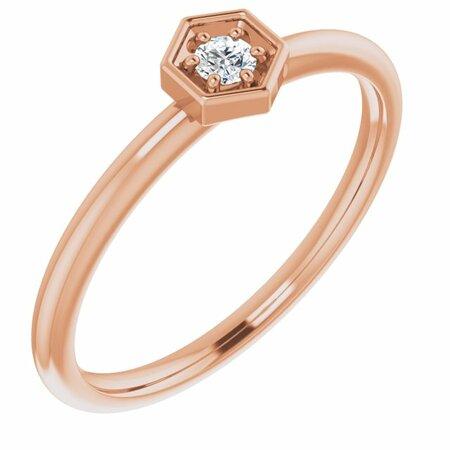 Created Moissanite Ring in 14 Karat Rose Gold 2.5 mm Round Forever One Moissanite Ring