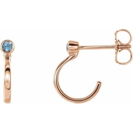 Genuine Zircon Earrings in 14 Karat Rose Gold 2 mm Round Genuine Zircon Bezel-Set Hoop Earrings