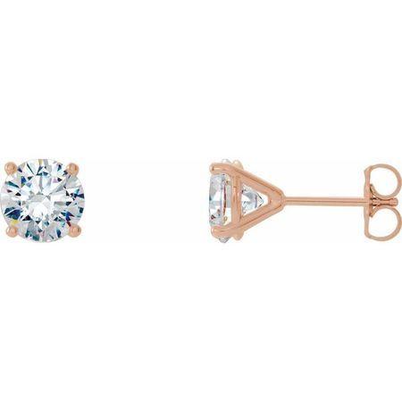 White Diamond Earrings in 14 Karat Rose Gold 3/4 Carat Diamond 4-Prong CocKaratail-Style Earrings