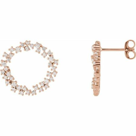 White Diamond Earrings in 14 Karat Rose Gold 3/4 Carat Diamond Circle Earrings
