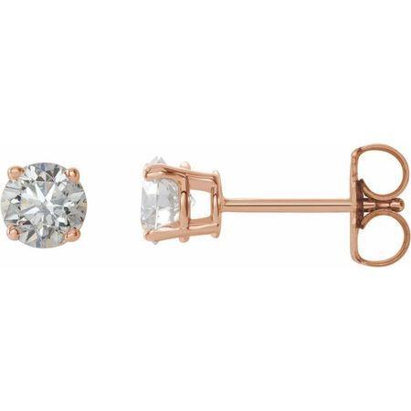 White Diamond Earrings in 14 Karat Rose Gold 3/4 Carat Diamond Earrings