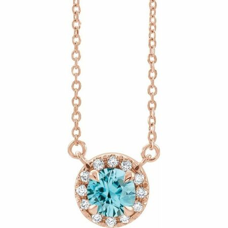 Genuine Zircon Necklace in 14 Karat Rose Gold 3.5 mm Round Genuine Zircon & .04 Carat Diamond 18