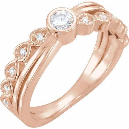 Created Moissanite Ring in 14 Karat Rose Gold 3.5 mm Round Forever One Moissanite & .05 Carat Diamond Ring