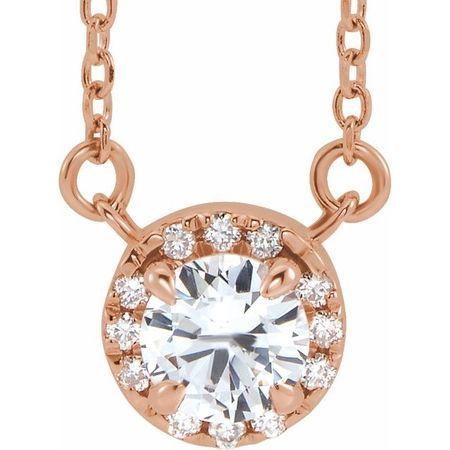 Genuine Sapphire Necklace in 14 Karat Rose Gold 3.5 mm Round White Sapphire & .04 Carat Diamond 18