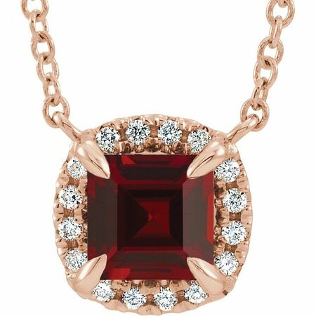 Red Garnet Necklace in 14 Karat Rose Gold 3.5x3.5 mm Square Mozambique Garnet & .05 Carat Diamond 16