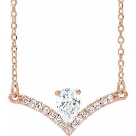 White Diamond Necklace in 14 Karat Rose Gold 3/8 Carat Diamond 16