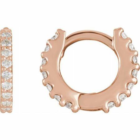 White Diamond Earrings in 14 Karat Rose Gold 3/8 Carat Diamond Hinged 14 mm Hoop Earrings