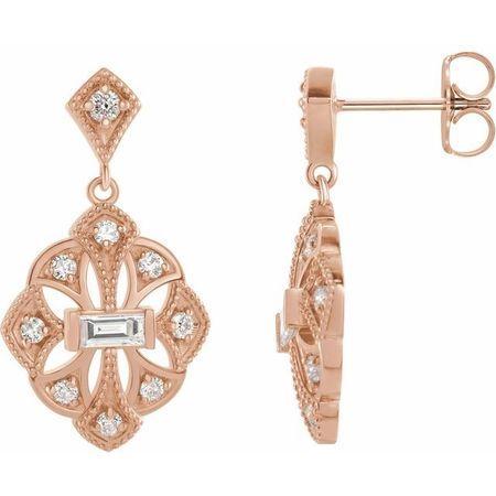 White Diamond Earrings in 14 Karat Rose Gold 3/8 Carat Diamond Vintage-Inspired Earrings