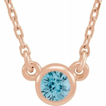 Genuine Zircon Pendant in 14 Karat Rose Gold 3 mm Round Genuine Zircon Bezel-Set Solitaire 16