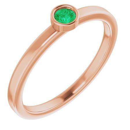 Genuine Emerald Ring in 14 Karat Rose Gold 3 mm Round Emerald Ring