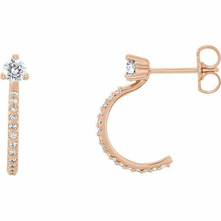 Created Moissanite Earrings in 14 Karat Rose Gold 3 mm Round Forever One Moissanite & 1/6 Carat Diamond Earrings