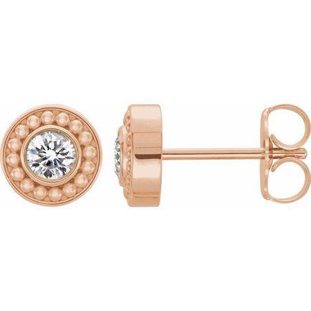 Created Moissanite Earrings in 14 Karat Rose Gold 3 mm Round Forever One Moissanite Beaded Earrings