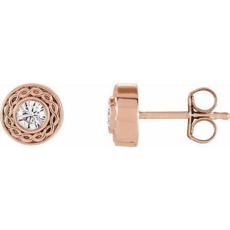 Created Moissanite Earrings in 14 Karat Rose Gold 3 mm Round Forever One Moissanite Earrings
