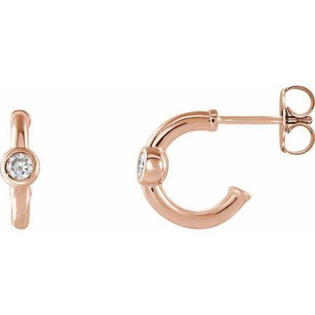 Created Moissanite Earrings in 14 Karat Rose Gold 3 mm Round Forever One Moissanite Hoop Earrings