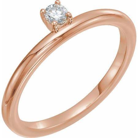 Created Moissanite Ring in 14 Karat Rose Gold 3 mm Round Forever One Moissanite Ring