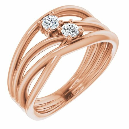 Created Moissanite Ring in 14 Karat Rose Gold 3 mm Round Forever One Moissanite Ring
