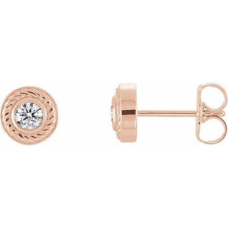 Created Moissanite Earrings in 14 Karat Rose Gold 3 mm Round Forever One Moissanite Rope Earrings