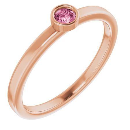 Pink Tourmaline Ring in 14 Karat Rose Gold 3 mm Round Pink Tourmaline Ring
