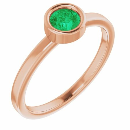 Genuine Emerald Ring in 14 Karat Rose Gold 4.5 mm Round Emerald Ring