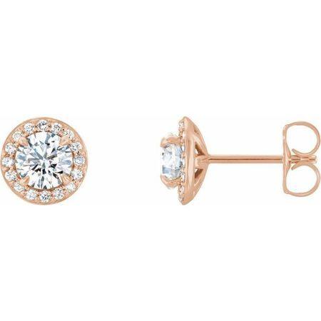Created Moissanite Earrings in 14 Karat Rose Gold 4.5 mm Round Forever One Moissanite & 1/6 Carat Diamond Earrings