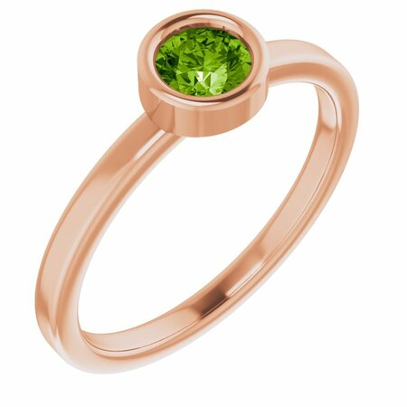 Genuine Peridot Ring in 14 Karat Rose Gold 4.5 mm Round Peridot Ring