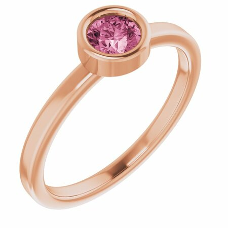 Pink Tourmaline Ring in 14 Karat Rose Gold 4.5 mm Round Pink Tourmaline Ring