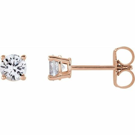 Moissanite Earrings in 14 Karat Rose Gold 4.5 mm Round Stuller Created Moissanite Earrings