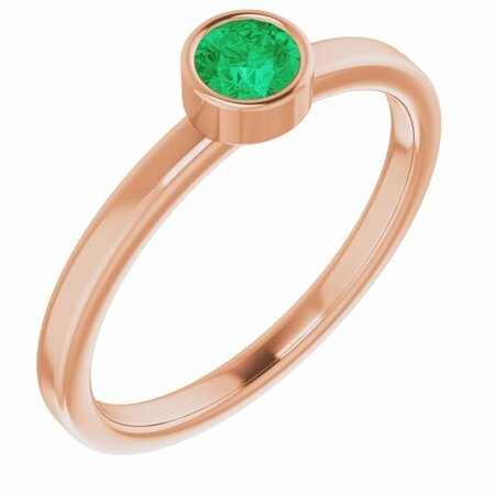 Genuine Emerald Ring in 14 Karat Rose Gold 4 mm Round Emerald Ring