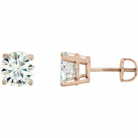 Created Moissanite Earrings in 14 Karat Rose Gold 4 mm Round Forever One Created Moissanite Earrings