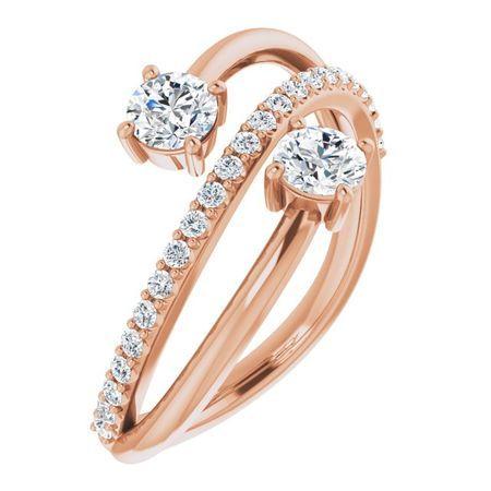 Created Moissanite Ring in 14 Karat Rose Gold 4 mm Round Forever One Moissanite & 1/5 Carat Diamond Ring
