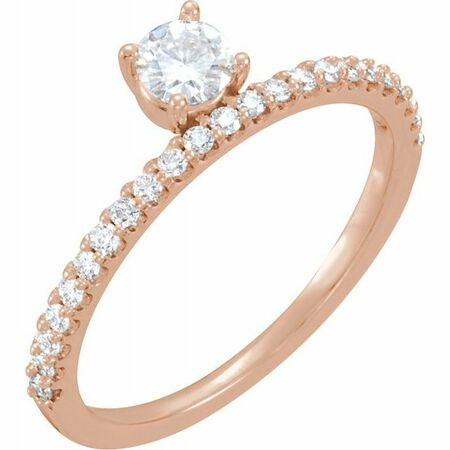 Created Moissanite Ring in 14 Karat Rose Gold 4 mm Round Forever One Moissanite & 1/5 Carat Diamond Stackable Ring