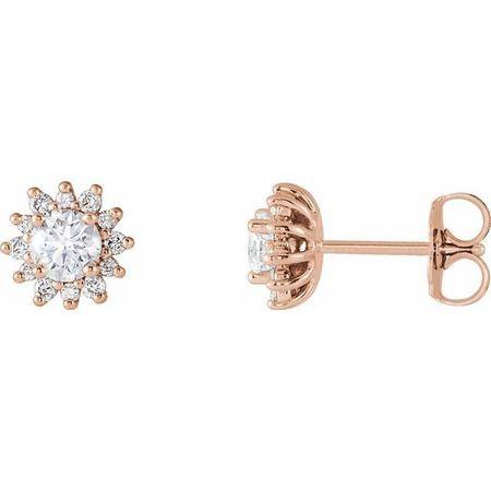 Created Moissanite Earrings in 14 Karat Rose Gold 4 mm Round Forever One Moissanite & 1/6 Carat Diamond Earrings