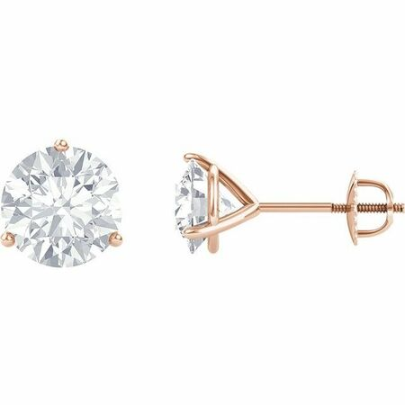 Created Moissanite Earrings in 14 Karat Rose Gold 4 mm Round Forever One Moissanite Earrings