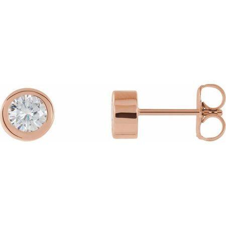 Created Moissanite Earrings in 14 Karat Rose Gold 4 mm Round Forever One Moissanite Earrings