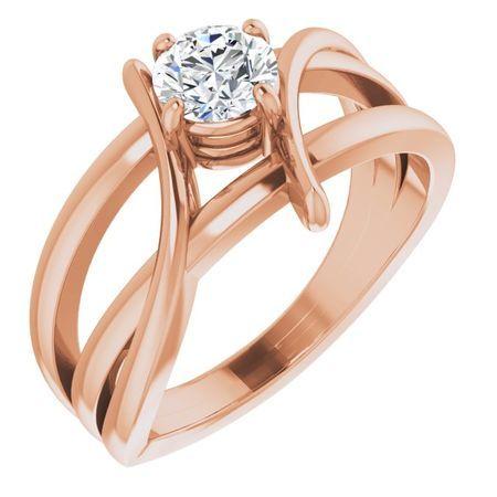 Created Moissanite Ring in 14 Karat Rose Gold 4 mm Round Forever One Moissanite Ring