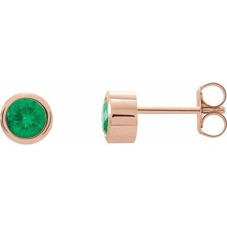 Genuine Emerald Earrings in 14 Karat Rose Gold 4 mm Round Emerald Birthstone Earrings