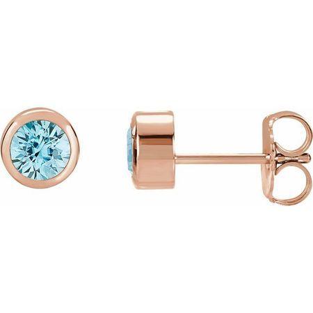 Genuine Zircon Earrings in 14 Karat Rose Gold 4 mm Round Zircon Birthstone Earrings