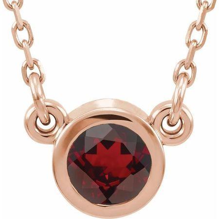 Red Garnet Pendant in 14 Karat Rose Gold 4 mm Round Mozambique Garnet Bezel-Set Solitaire 16