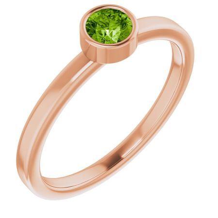 Genuine Peridot Ring in 14 Karat Rose Gold 4 mm Round Peridot Ring