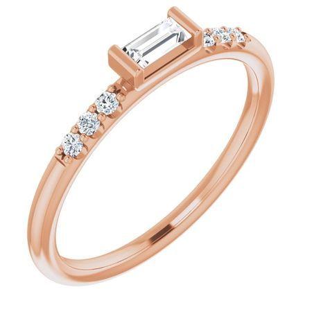 Created Moissanite Ring in 14 Karat Rose Gold 4x2 mm Straight Baguette Forever One Moissanite & 1/10 Carat Diamond Ring