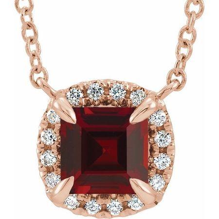 Red Garnet Necklace in 14 Karat Rose Gold 4x4 mm Square Mozambique Garnet & .05 Carat Diamond 16