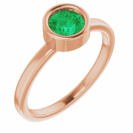 Genuine Emerald Ring in 14 Karat Rose Gold 5.5 mm Round Emerald Ring